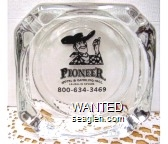 Pioneer Hotel & Gambling Hall, Laughlin Nevada, 800-634-3469 - Black imprint Glass Ashtray