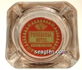 Ponderosa Hotel, Reno, Nevada - Red and green imprint Glass Ashtray