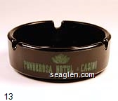 Ponderosa Hotel & Casino, Reno, Nevada - Green imprint Glass Ashtray