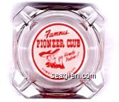 Famous Pioneer Club, Howdy Podner!, Downtown Las Vegas - Red on white imprint Glass Ashtray