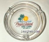 Player's Island Hotel - Casino, Lake Charles, LA - Green and maroon imprint Glass Ashtray