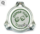 Penmar - Club, Penny Overman, Fallon, Nevada - Green on white imprint Glass Ashtray