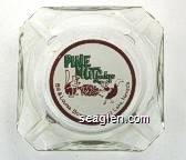 Pine Nut Lodge, Bill & Louise Bowman - Topaz Lake, Nevada - Green and brown on white imprint Glass Ashtray