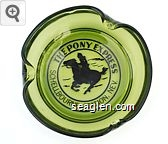 The Pony Express, Schellbourne Station, Nev. - Black imprint Glass Ashtray