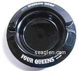 Four Queens, Las Vegas Nevada - White imprint Glass Ashtray