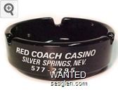 Red Coach Casino, Silver Springs, Nev., 577-2295, Bingo - Slots - 21, Fine Food - Bar - White imprint Glass Ashtray