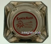 Ranch House, Wells, Nevada, Highway U.S. 40 - Red on white imprint Glass Ashtray