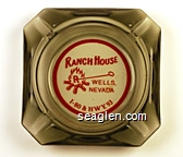 Ranch House, Wells, Nevada, I-80 & HWY. 93 - Red imprint Glass Ashtray