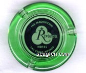 The Magnificent Riviera Hotel, Las Vegas, Nevada - Black on white imprint Glass Ashtray