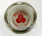Hotel Riviera, On the Famous Strip - Las Vegas, Nevada - Red on white imprint Glass Ashtray