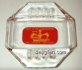 Home of the Dancing Waters, Hotel Royal Nevada, Las Vegas, Nevada - Yellow on red imprint Glass Ashtray