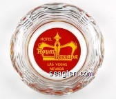 Hotel Royal Nevada, Las Vegas Nevada - Yellow on red imprint Glass Ashtray