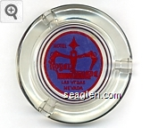 Hotel Royal Nevada, Las Vegas, Nevada - Red on blue imprint Glass Ashtray