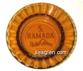 RR Ramada Hotel Casino, 6th and Lake, Reno - Red on yellow imprint Glass Ashtray