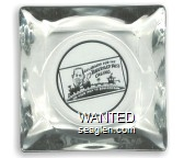 All Aboard for the Railroad Pass Casino, On Your Way to Boulder Dam - Black imprint Glass Ashtray