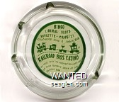 Bingo, Liberal Slots, Roulette - Craps - ''21'', Good Food & Snack Bar, Railroad Pass Casino, On Your Way to Hoover ''Boulder Dam'', Sip Your Favorite Drink at Our Famous Bar - Green on white imprint Glass Ashtray