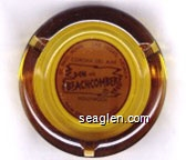 St. Paul, Minn., Las Vegas, Nevada, Corona Del Mar, Don the Beachcomber, Hollywood, Palm Springs, Chicago - Brown on orange imprint Glass Ashtray