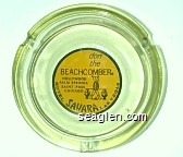 don the Beachcomber, Hollywood, Palm Springs, Saint Paul, Chicago, Hotel Sahara Las Vegas - Black on yellow imprint Glass Ashtray