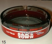 Sam's Town, Las Vegas, Nevada, Hotel and Gambling Hall, Gourmet Dining-Diamond Lil's - Red and white imprint Glass Ashtray