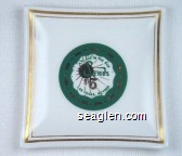 A Place in the Sun, Sands $5, Las Vegas, Nevada - Green and gold imprint Porcelain Ashtray