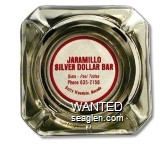 Jaramillo Silver Dollar Bar, Slots - Pool Tables, Phone 635-2156, Battle Mountain, Nevada - Red on white imprint Glass Ashtray