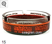 Sundance Las Vegas, Nevada Hotel and Casino Downtown - Orange on brown imprint Glass Ashtray
