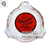 Shanghai Club, featuring Chinese Foods and Liquors, 623 B - Street, Sparks - Nevada - Black on red imprint Glass Ashtray