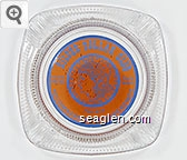Silver Dollar Club, Mixed Drinks, Pool Tables, 738-9112, 400 Commercial St. Elko, Nevada - Blue on orange imprint Glass Ashtray