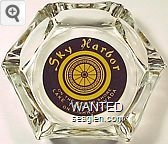 Sky Harbor, On the South Shore, Lake Tahoe, Nevada, On Highway 50 - Yellow on brown imprint Glass Ashtray