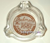 Stockmen's Hotel, Elko, Nevada Casino - Cocktail Lounge, Coffee Shop - Bar - Barber Shop - Brown and white imprint Glass Ashtray