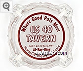 Where Good Pals Meet, US 40 Tavern, 640 E 4th St Reno, Nev, Al - Ray - Bing, Home of Western Music - Red on white imprint Glass Ashtray