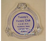 Tommy's Victory Club, Gaming, Racehorse Keno, Carson City Nevada - Blue on white imprint Glass Ashtray