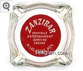 Zanzibar, Cocktails, Entertainment, Dancing, Casino, N. Las Vegas, Nev. - White on red imprint Glass Ashtray