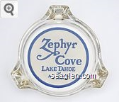 Zephyr Cove, Lake Tahoe in Nevada - Blue on white imprint Glass Ashtray